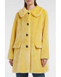 Shrimps - Pyrus Faux Fur Coat, Size Uk12, Women, Yellow - Lyst