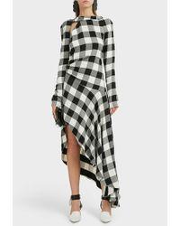 Monse - Asymmetric Gingham Crepe Maxi Dress - Lyst
