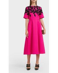 Oscar de la Renta - Leaf-embroidered Wool Midi Dress - Lyst