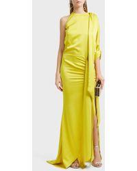 Ronald Van Der Kemp - Bow Sleeve Gown, Size Fr38, Women, Yellow - Lyst