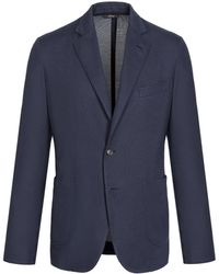 Brioni - Navy-blue Silk Piqué Jacket - Lyst