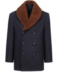 Brioni - Navy Blue Double Breasted Coat - Lyst