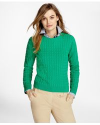 Brooks Brothers - Cable-knit Cotton-cashmere Sweater - Lyst