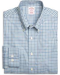 Brooks Brothers - Supima® Cotton Non-iron Regular Fit Blue Check Twill Sport Shirt - Lyst
