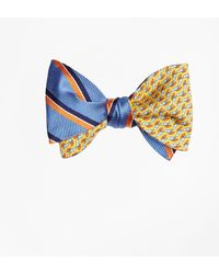 Brooks Brothers - Exploded Herringbone Stripe With Windboard Print Reversible Bow Tie - Lyst