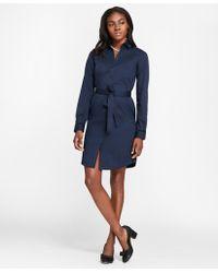 Brooks Brothers - Velvet-trimmed Cotton Sateen Shirt Dress - Lyst