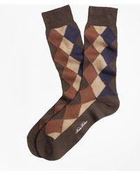 Brooks Brothers - Solid With Argyle Crew Socks - Lyst