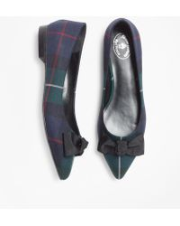 960bf908435 Brooks Brothers - Black Watch Plaid Point-toe Flats - Lyst