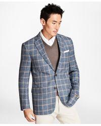 Brooks Brothers - Regent Fit Light-blue With Tan Windowpane Sport Coat - Lyst