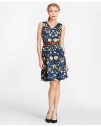 Brooks Brothers - Floral-print Cotton Sateen Flounce-hem Dress - Lyst