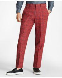 Brooks Brothers - Regent Fit Windowpane Linen Trousers - Lyst