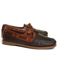 Brooks Brothers | Contrasting Leather Boat Shoes | Lyst