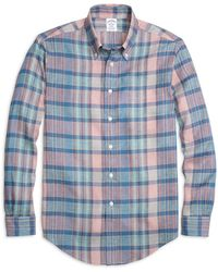 Brooks Brothers - Madison Fit Plaid Linen Sport Shirt - Lyst