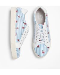 Brooks Brothers - Rose-print Striped Leather Low-top Sneakers - Lyst