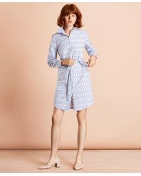 Brooks Brothers - Striped Clip-dot Cotton Dobby Shirt Dress - Lyst