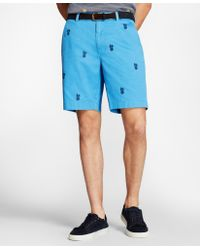 Brooks Brothers - Embroidered Pineapple Cotton Twill Shorts - Lyst