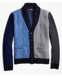 Brooks Brothers - Color-block Cable Cardigan - Lyst
