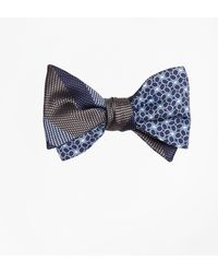Brooks Brothers - Dotted Herringbone Stripe With Horseshoe Motif Reversible Bow Tie - Lyst