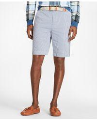 Brooks Brothers - Gingham Seersucker Bermuda Shorts - Lyst