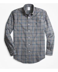 Brooks Brothers - Regent Fit Windowpane Brushed Oxford Sport Shirt - Lyst