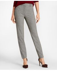 Brooks Brothers - Mini Houndstooth Stretch Wool Slim-fit Ankle Trousers - Lyst