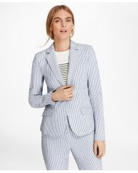 Brooks Brothers - Petite Striped Stretch Cotton Seersucker Jacket - Lyst
