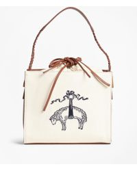 Brooks Brothers - Golden Fleece®-embroidered Canvas And Leather Handbag - Lyst