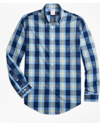 Brooks Brothers - Non-iron Madison Fit Navy Plaid Sport Shirt - Lyst