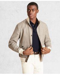 Brooks Brothers Golden Fleece Wool Linen Houndstooth Bomber Jacket - Brown