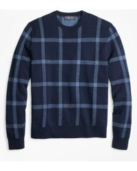 Brooks Brothers - Merino Wool Windowpane Crewneck Sweater - Lyst