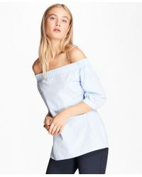 Brooks Brothers - Striped Cotton Poplin Off-the-shoulder Blouse - Lyst