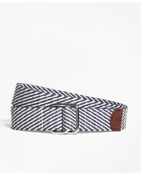 Brooks Brothers - Striped Cotton D-ring Belt - Lyst