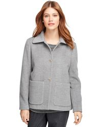 Brooks brothers Angora Wool Short Coat in Gray | Lyst