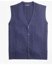 Brooks Brothers - Merino Wool Cable Button-front Vest - Lyst