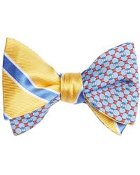 Brooks Brothers | Bold Framed Stripe With Flag And Raft Print Reversible Bow Tie | Lyst