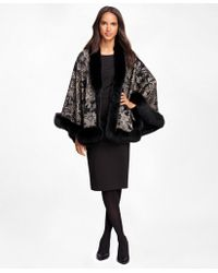 Brooks Brothers - Cashmere Paisley Ruana With Fox Fur Trim - Lyst