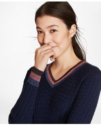Brooks Brothers - Shimmer-stripe Cable-knit Supima® Cotton V-neck Sweater - Lyst