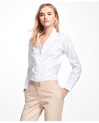 Brooks Brothers - Petite Non-iron Ruffle Pinpoint Oxford Dress Shirt - Lyst