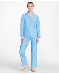 Brooks Brothers - Striped Cotton Poplin Pajama Set - Lyst