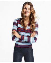 Brooks Brothers - Geometric-pattern V-neck Sweater - Lyst