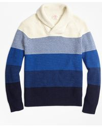 Brooks Brothers - Color-block Cotton Shaker Shawl-collar Jumper - Lyst