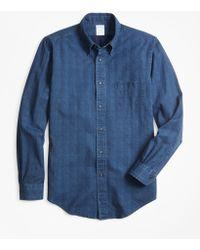 Brooks Brothers - Regent Fit Glen Plaid Indigo Sport Shirt - Lyst