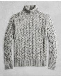 Brooks Brothers - Golden Fleece® 3-d Knit Marled Alpaca-blend Turtleneck Cable Sweater - Lyst
