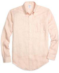 Brooks Brothers - Regent Fit Stripe Linen Sport Shirt - Lyst