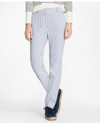 Brooks Brothers - Petite Striped Stretch Cotton Seersucker Pants - Lyst