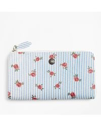 Brooks Brothers - Rose-print Striped Saffiano Leather Wallet - Lyst