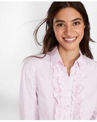 Brooks Brothers - Striped Cotton Poplin Ruffled Shirt - Lyst