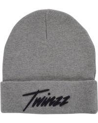 TWINZZ - Grey Logo Beanie Hat - Lyst