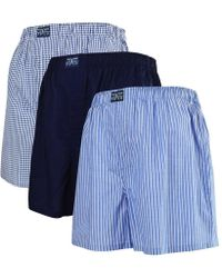 Polo Ralph Lauren - Multi Blue Woven Three Pack Boxers - Lyst