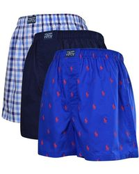 Polo Ralph Lauren Blue/multi Woven Three Pack Classic Boxers